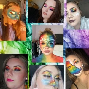 Media Make-up students cover themselves in rainbows