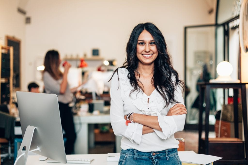 woman in her business start up setting